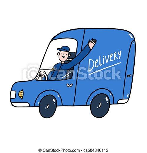 servicio, ilustración, tipo, coche, vector, entrega, azul - csp84346112