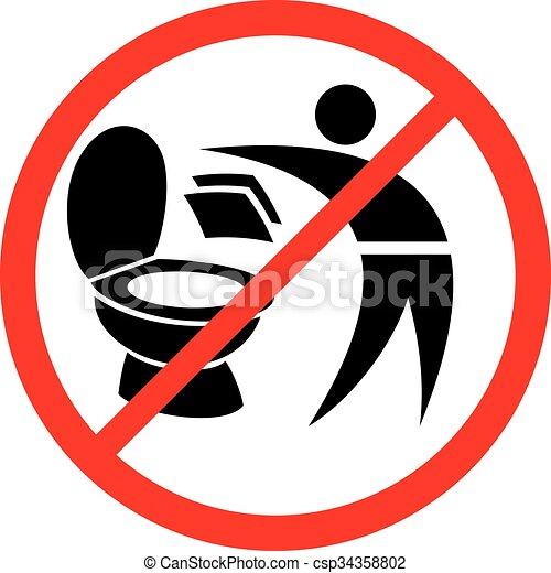 Por favor, no tires toallas de papel en el letrero del baño - csp34358802