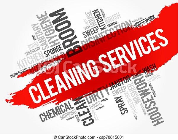 Servicios de limpieza palabra collage nube - csp70815601