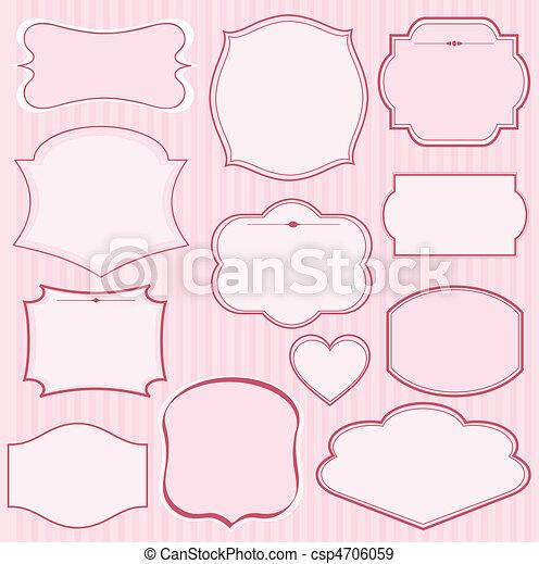 Set de marcos de vector rosa - csp4706059
