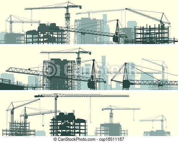 Siéntate con grúas y edificios. - csp18511187