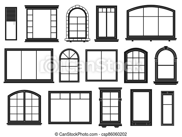 silhouettes., windows, exterior, aislado, puertas, conjunto, contorno, arcos, encuadrado, negro, vector, florido, elementos arquitectónicos, ventana, edificio - csp86060202