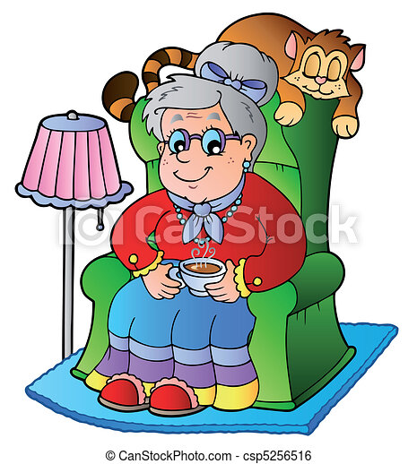 La abuela de Cartoon está sentada en el sillón - csp5256516