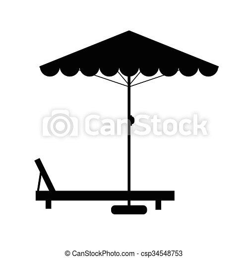 Silla de cubierta y ilustración de paraguas - csp34548753