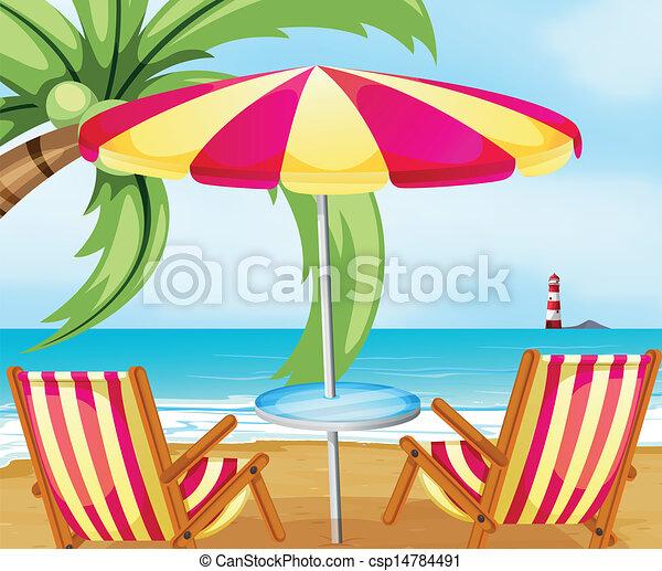 Una silla y un paraguas en la playa - csp14784491