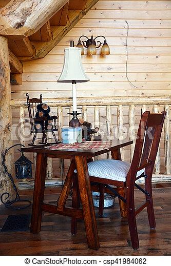 Interior, silla de madera en la cabina - csp41984062