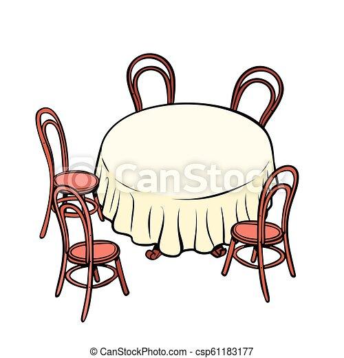 Mesa redonda y sillas alrededor - csp61183177