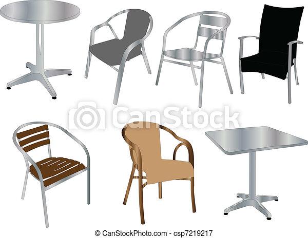 Tables y sillas, vector - csp7219217