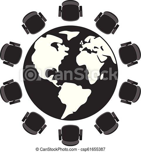 Vector mesa redonda y sillas - csp61655387