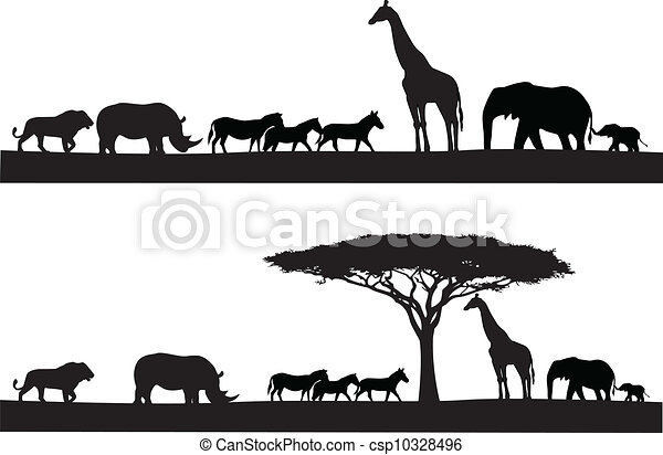 Silueta animal safari - csp10328496