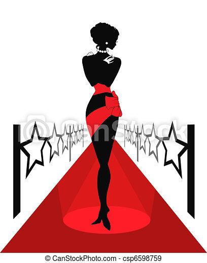 Silueta de mujer en una alfombra roja - csp6598759