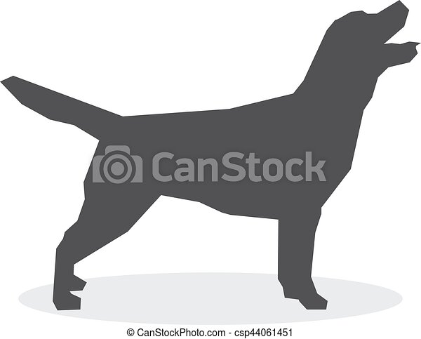 Silueta de perro en un fondo blanco. Ilustración de vectores - csp44061451