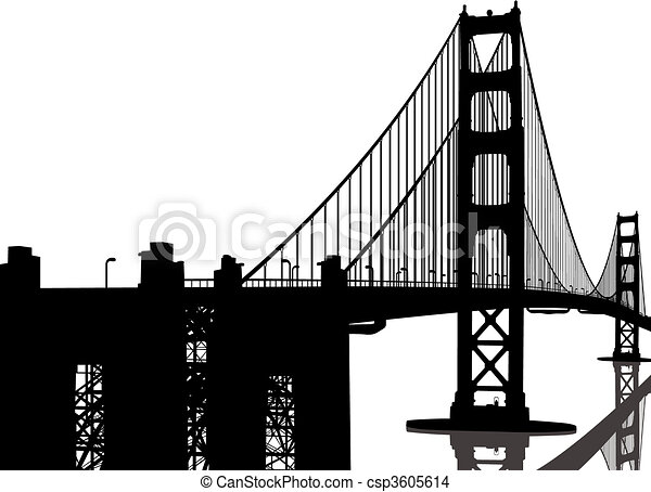 Silueta del puente Golden Gate - csp3605614