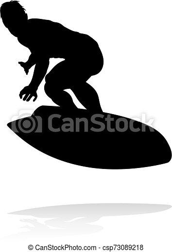 Silueta Surfer - csp73089218