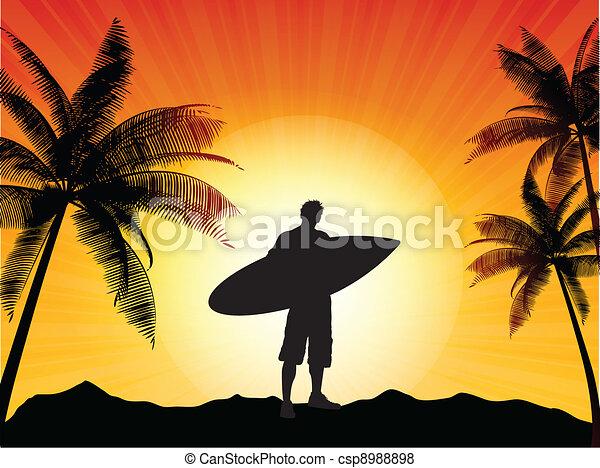 Surfer silueta - csp8988898