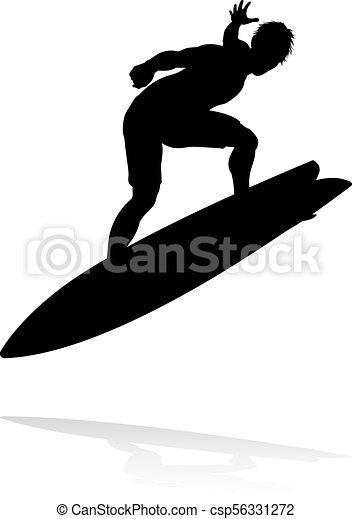 Silueta Surfer - csp56331272