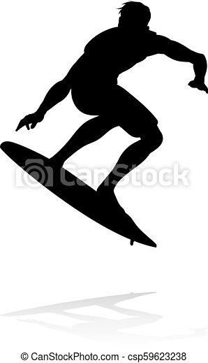Silueta Surfer - csp59623238