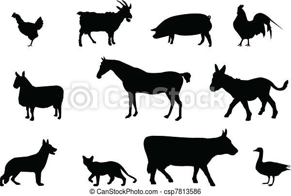 Animales de granja siluetas - csp7813586