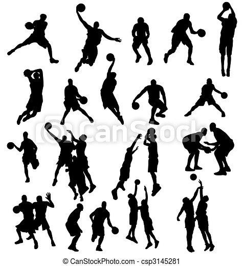 La colección de siluetas de basquetbol - csp3145281