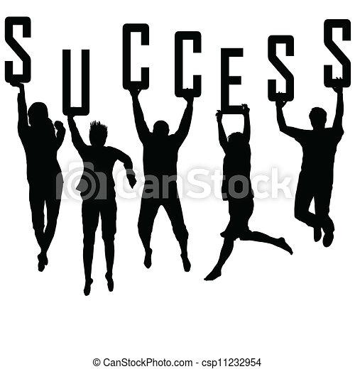 El concepto de éxito con jóvenes siluetas de equipo - csp11232954