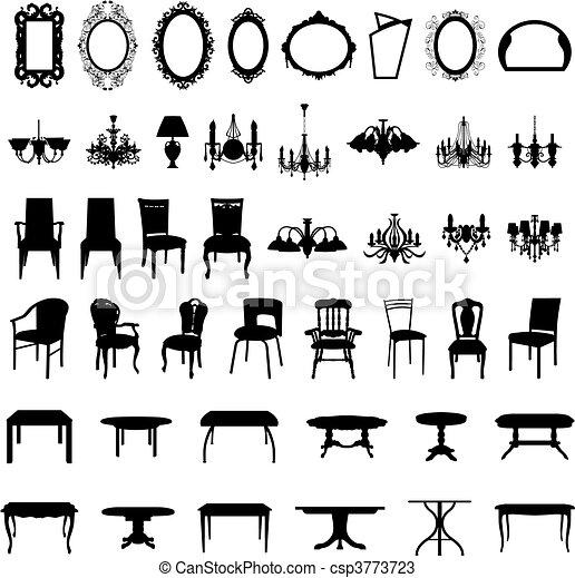Siluetas de muebles puestas - csp3773723