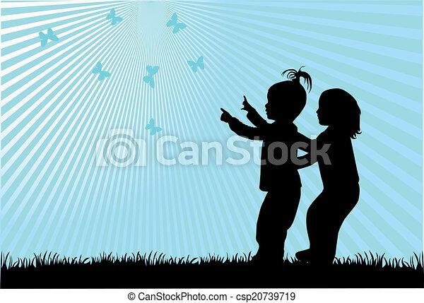 Siluetas de niños - csp20739719