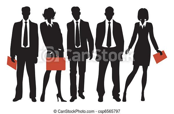 Siluetas de gente de negocios - csp6565797