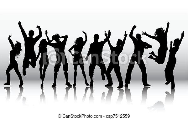 Siluetas de gente bailando - csp7512559