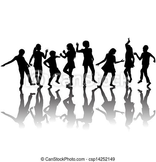 Un grupo de niños bailando - csp14252149