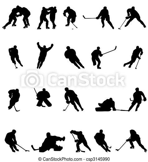 La colección de siluetas de hockey - csp3145990