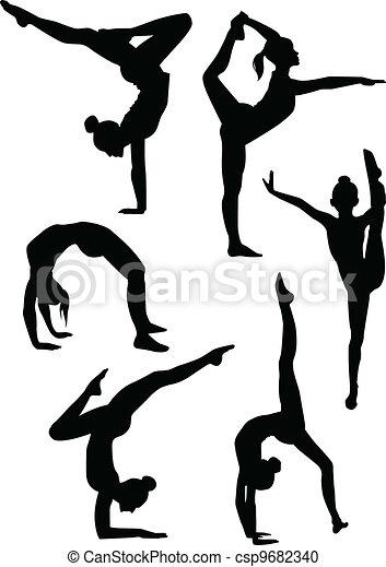 Chicas gimnastas siluetas - csp9682340
