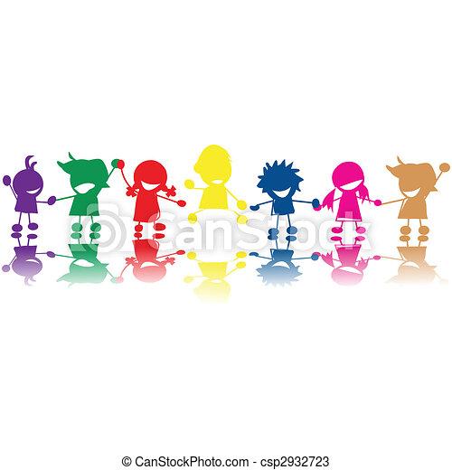 Siluetas de niños - csp2932723