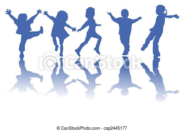 Niños felices siluetas - csp2445177