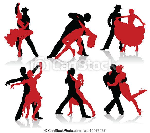 Siluetas de las parejas bailando ba - csp10076987