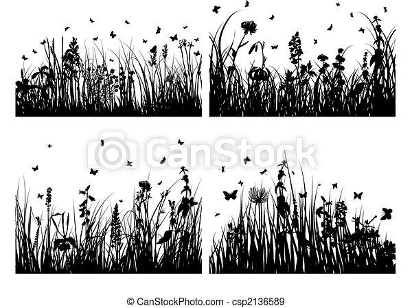 Siluetas de hierba puestas - csp2136589
