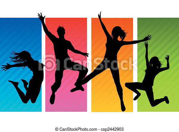 Saltar a la gente siluetas - csp2442903