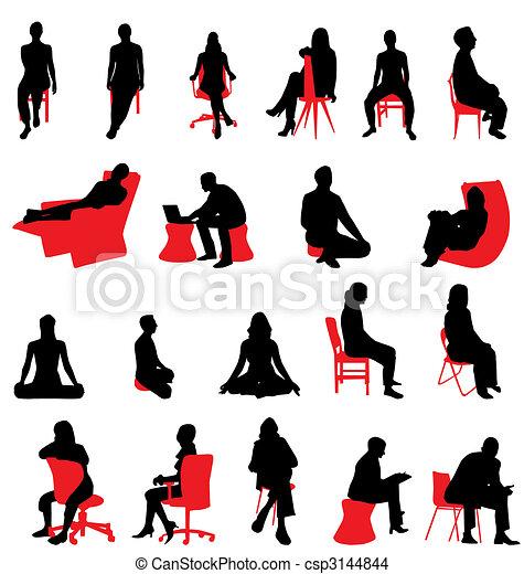 Gente sentada siluetas - csp3144844