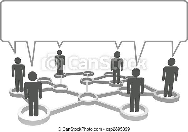Simbolos conectados en los nodos de la red se comunican en una burbuja de habla. - csp2895339
