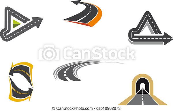 Simbolos de carretera y carretera - csp10962873