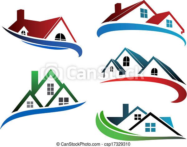 Simbolos de construcción con techos caseros - csp17329310