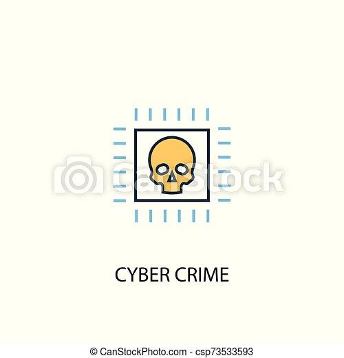 El concepto del crimen cibernético: icono de línea de color 2. Simple ilustración amarilla y azul. Simbolo del concepto cibercrimen - csp73533593