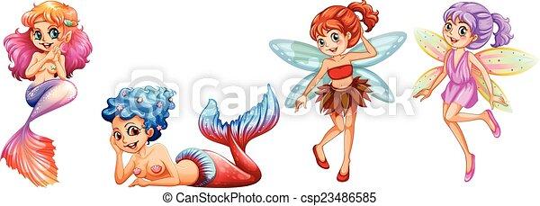 Sirenas y hadas - csp23486585