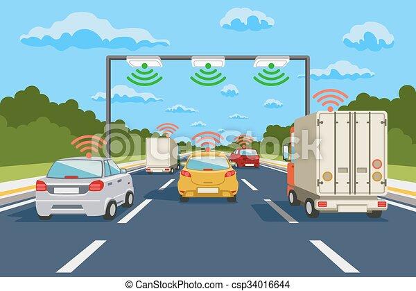 Sistema de comunicación de carretera vectores infográficos - csp34016644