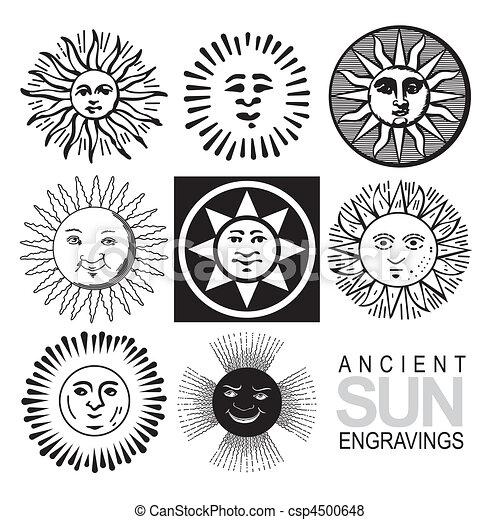 iconos solares retro establecidos (vector) - csp4500648