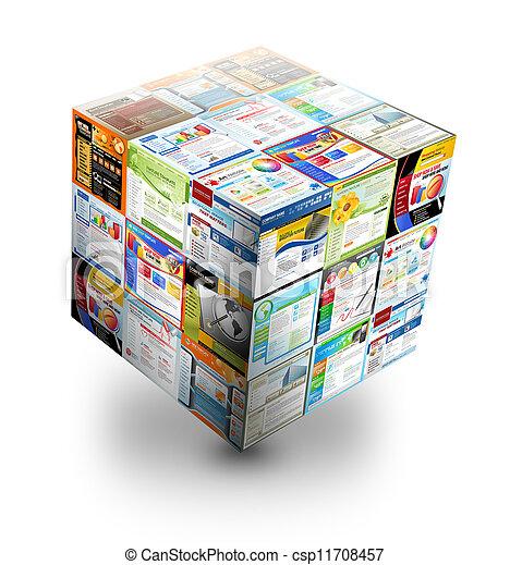 Caja web de internet 3D en blanco - csp11708457