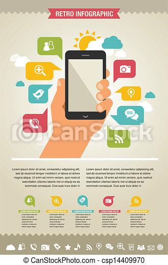 Teléfono móvil con iconos, antecedentes infgráficos y web - csp14409970