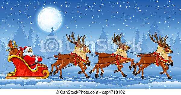 Santa Claus en trineo - csp4718102