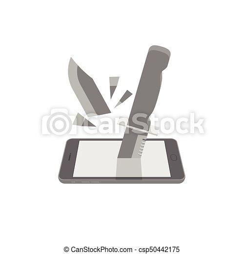 Smartphone con un cuchillo roto puso protección el concepto de ciber-crimen de la idea de ilustración de internet aislado en el fondo blanco, con espacio de copia - csp50442175