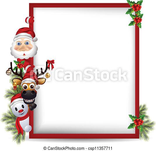 Santa Claus, venado y muñeco de nieve - csp11357711