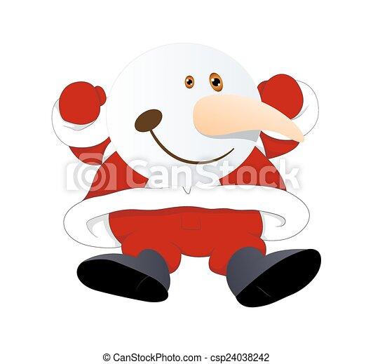 Un muñeco de nieve saltarín gracioso - csp24038242